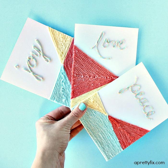 DIY Yarn Embellished Cards.