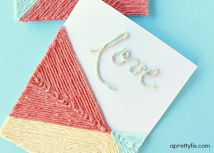 DIY Yarn Embellished Card.