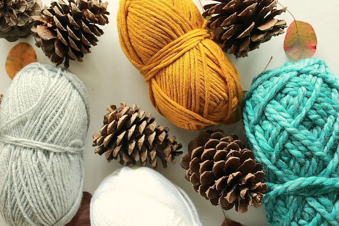 yarn-wrapped pinecones - materials needed