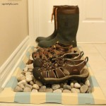 This boot tray makeover is a great way to turn a ho-hum boot tray into a stylish spot for your footwear. It's all in the details!