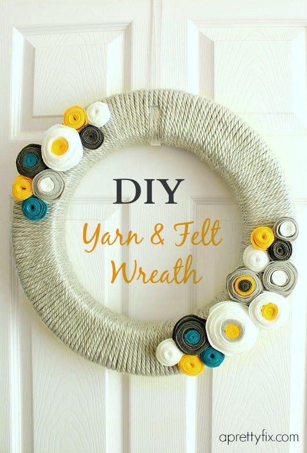 DIY yarn and wreath tutorial - aprettyfix.com