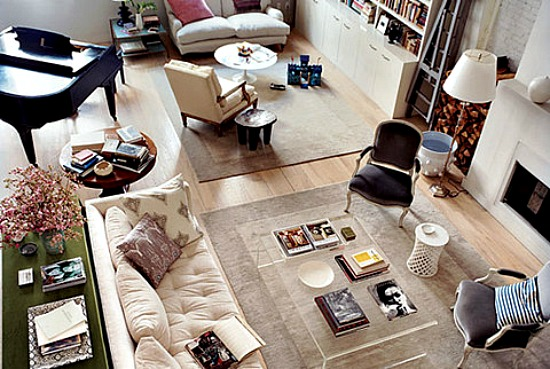 Living Room Layout - two conversation zones - A Pretty Fix