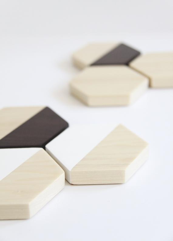 DIY wood hexagon coasters
