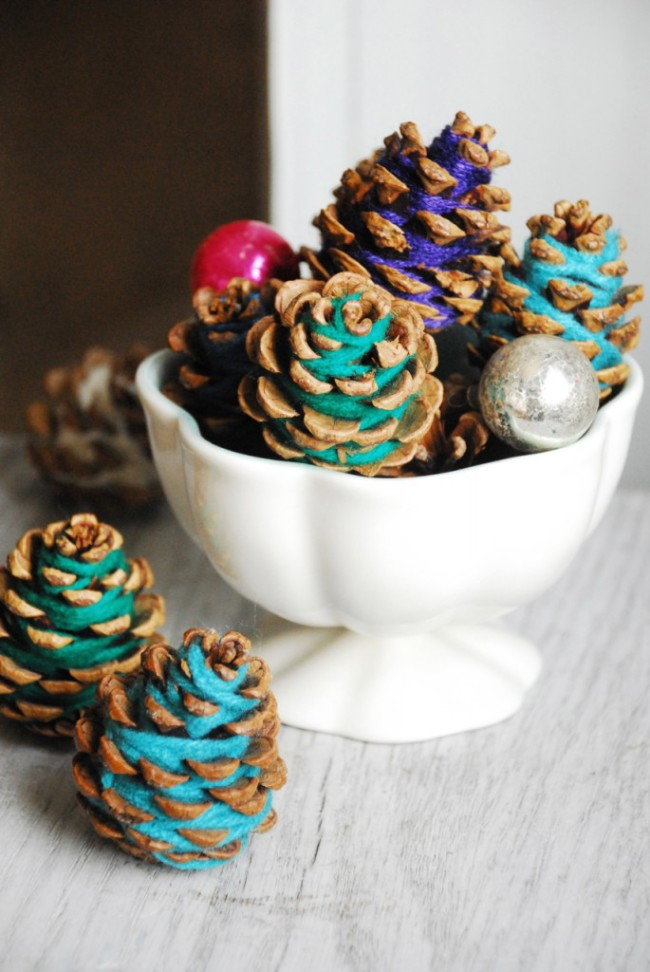 wrapped pine cones
