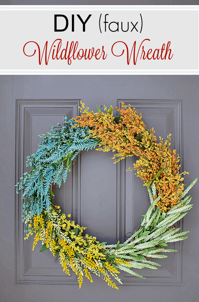 Usher in the season using a modern, colour block pattern with this DIY (faux) Wildflower Wreath. No glue or floral wire is required!