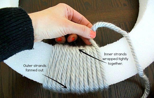 DIy yarn/felt wreath - winding the base - aprettyfix.com.